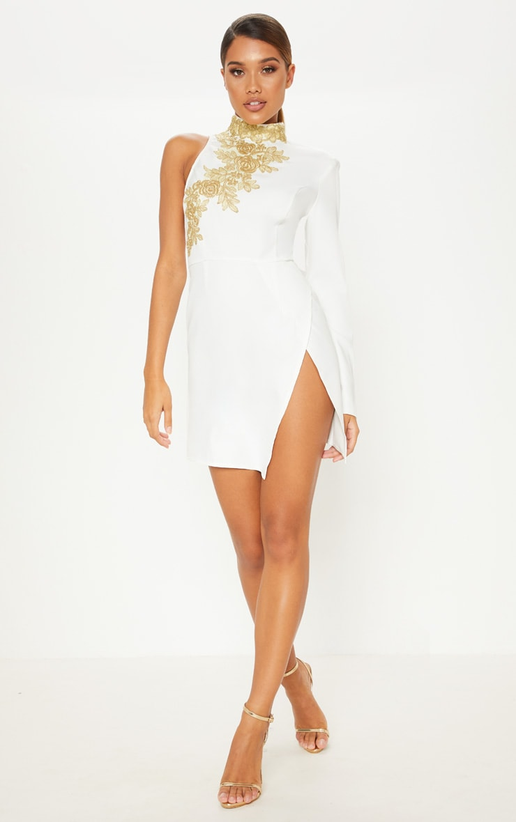 White Asymmetric Sleeve Embroidered Bodycon Dress