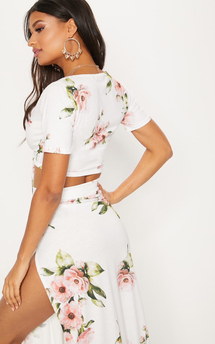 White Floral Tie Front Crop Top 2