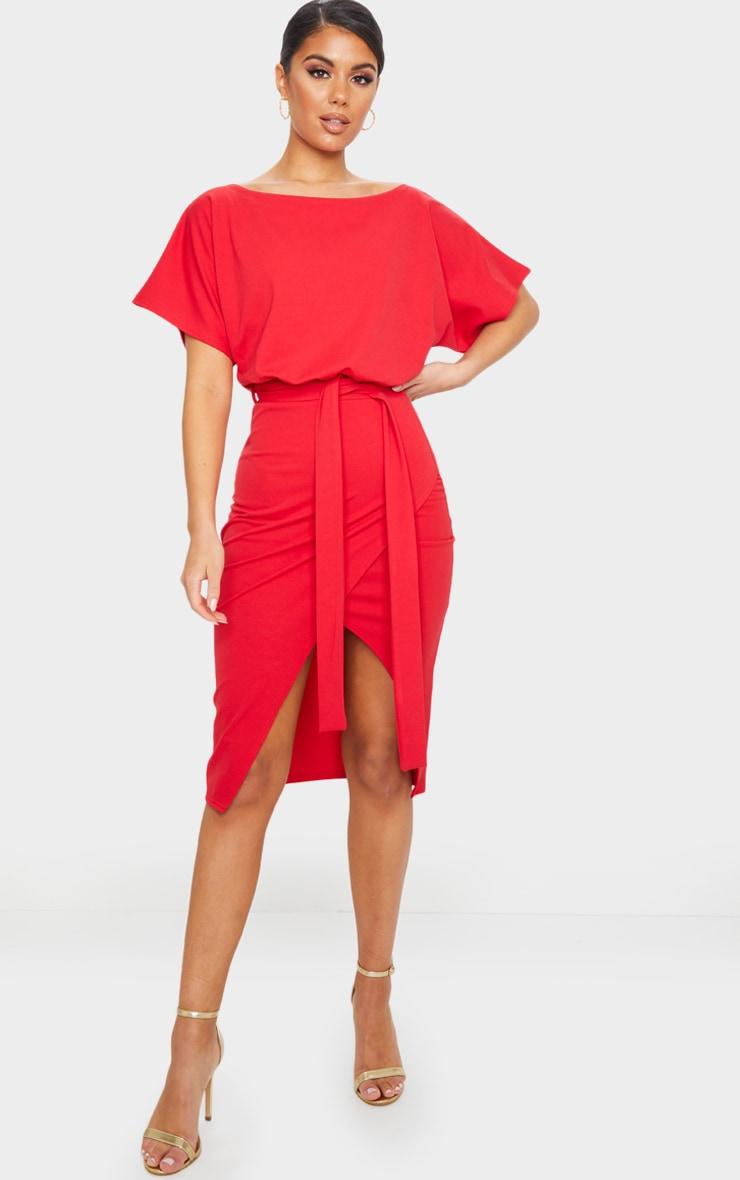Wrap Front Red Kimono Sleeve Midi Dress 1