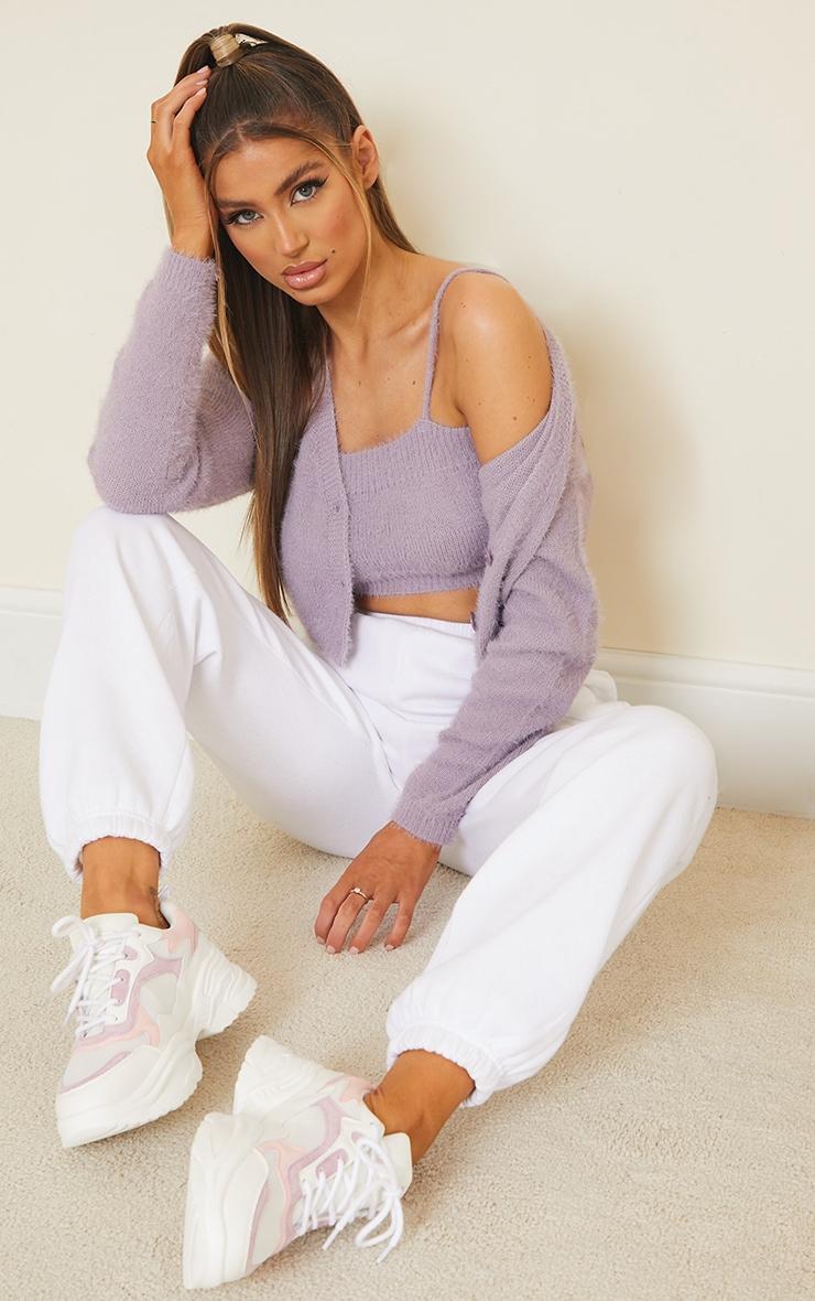 Lilac Eyelash Knit Cropped Cami 3