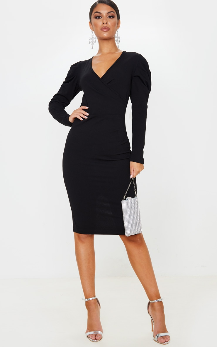 Black Pleated Wrap Long Sleeve Midi Dress 1