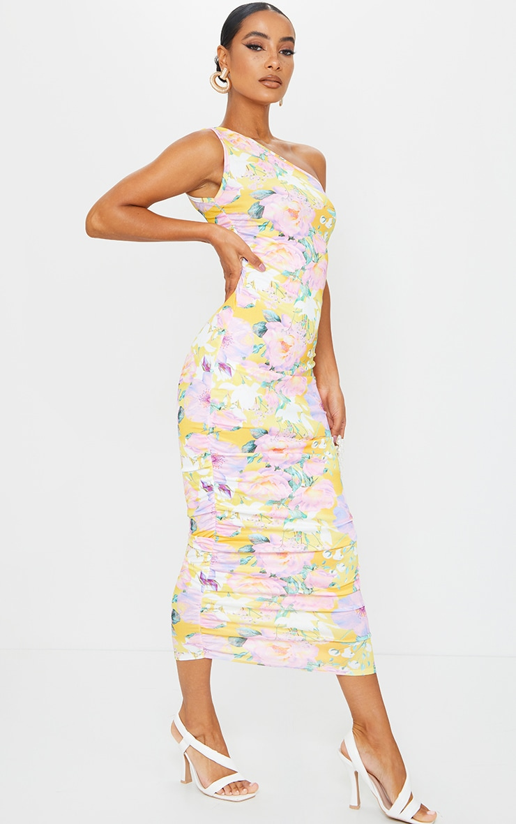 Yellow Floral One Shoulder Ruched Midi Dress 3
