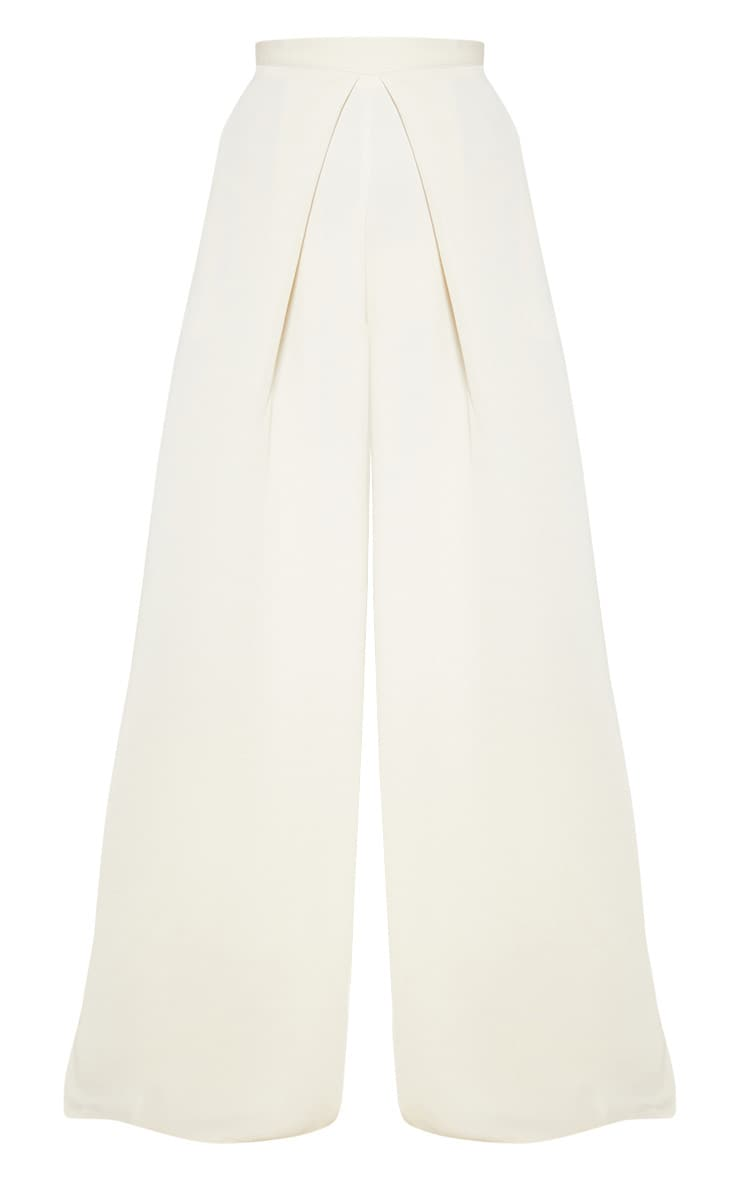 Cream Woven Pleat Detail Wide Leg Pants 3