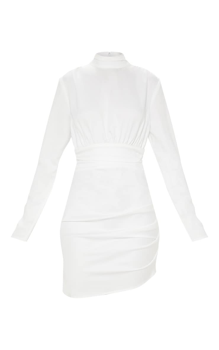 White Satin High Neck Ruched Shift Dress 3