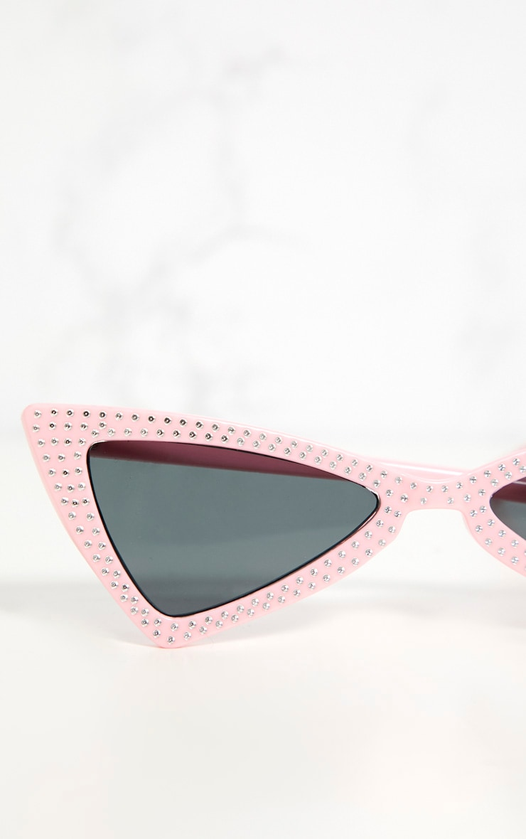 Pink Diamante Triangle Sunglasses 4