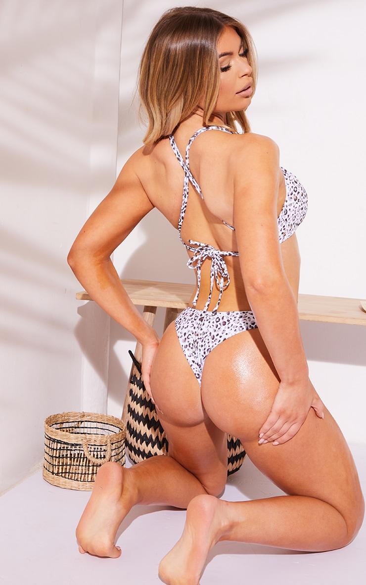 White Leopard Ruched Front Bikini Top 2