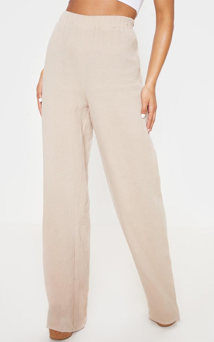 Stone Elasticated Waist Cheesecloth Wide Leg Trouser 2