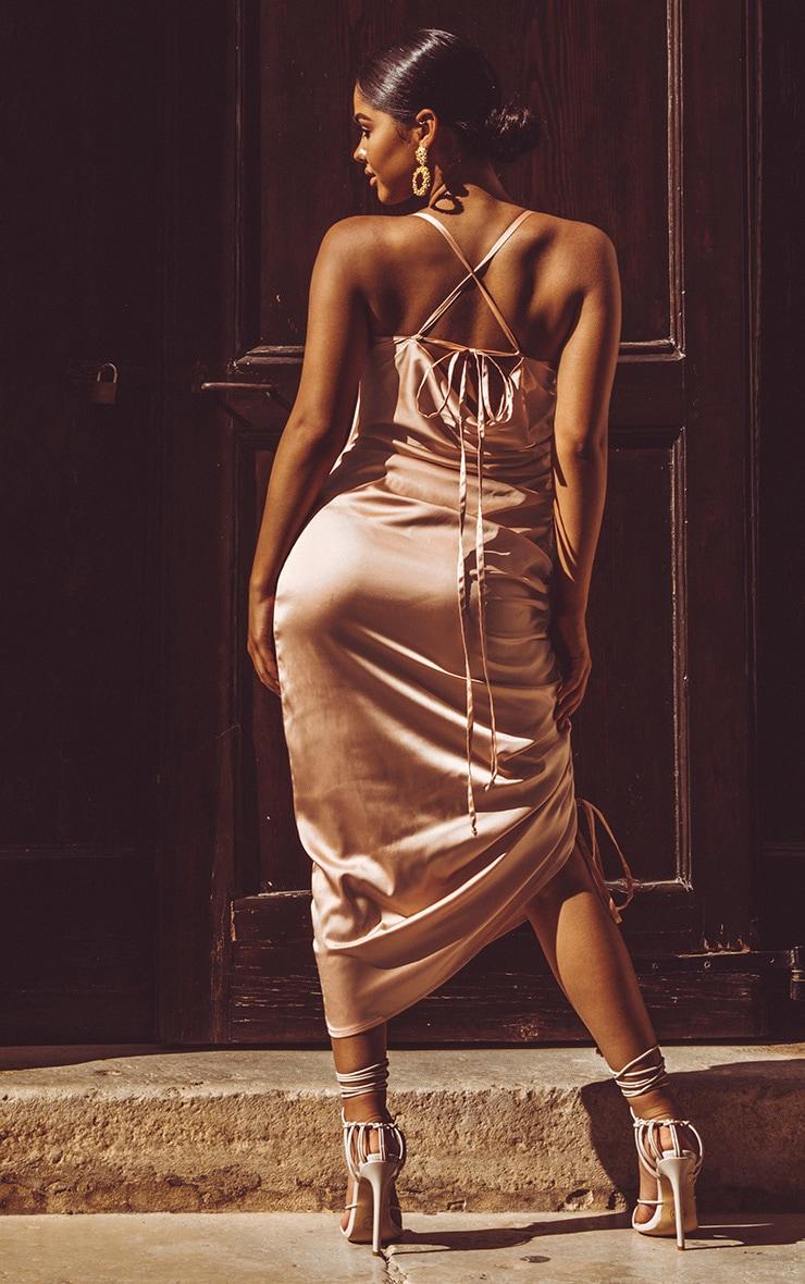 Peach Satin Ruched Seam Midi Dress 2