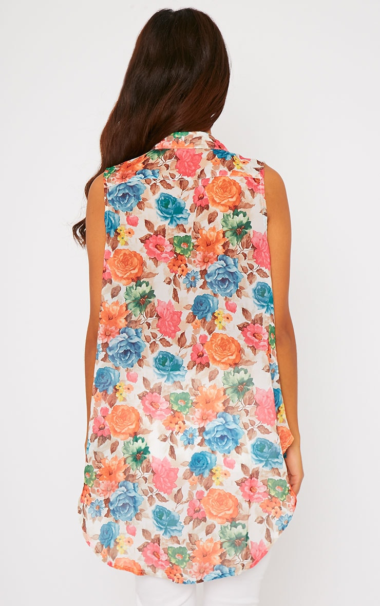 Olivia Cream Floral Print Sleeveless Shirt 2