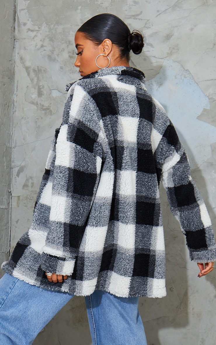 Monochrome Checked Borg Longline Shacket 2