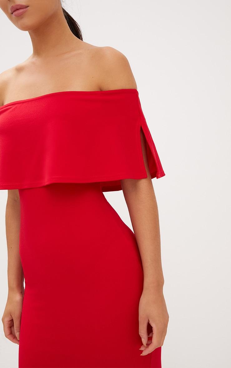 Red Bardot Frill Fishtail Maxi Dress 5