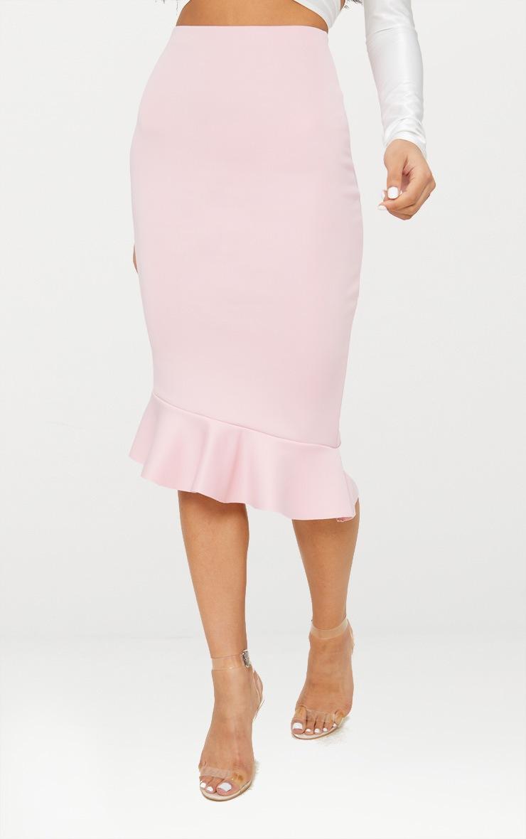 Dark Rose Scuba Asymmetrical Frill Hem Skirt 4