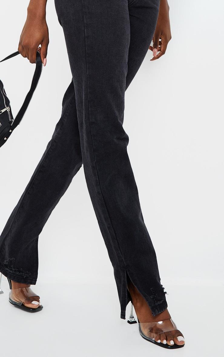 Tall Black Wash Distressed Split Hem Straight Leg Jeans 4
