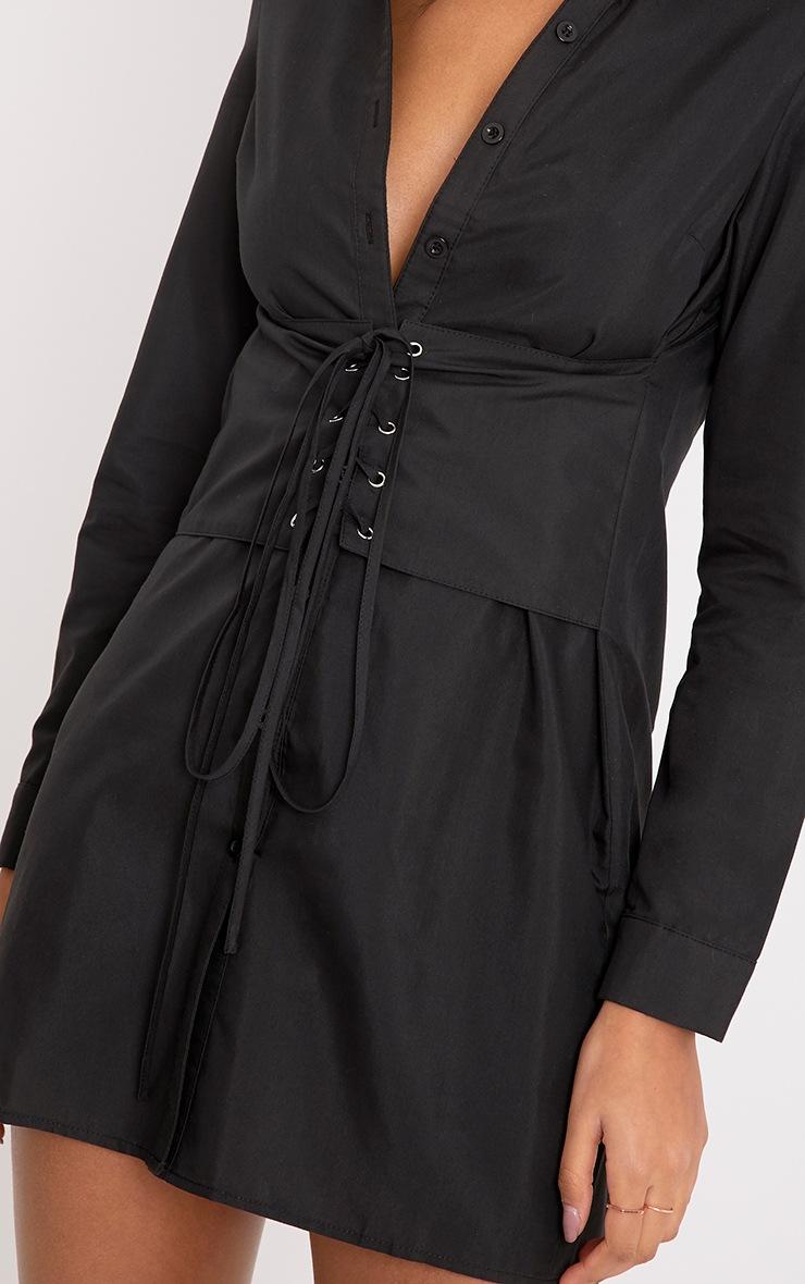Willow Black Corset Lace Up Open Shirt Dress 4
