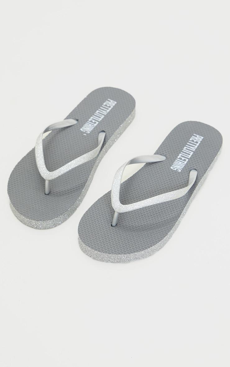 Silver Glitter Flip Flops 3