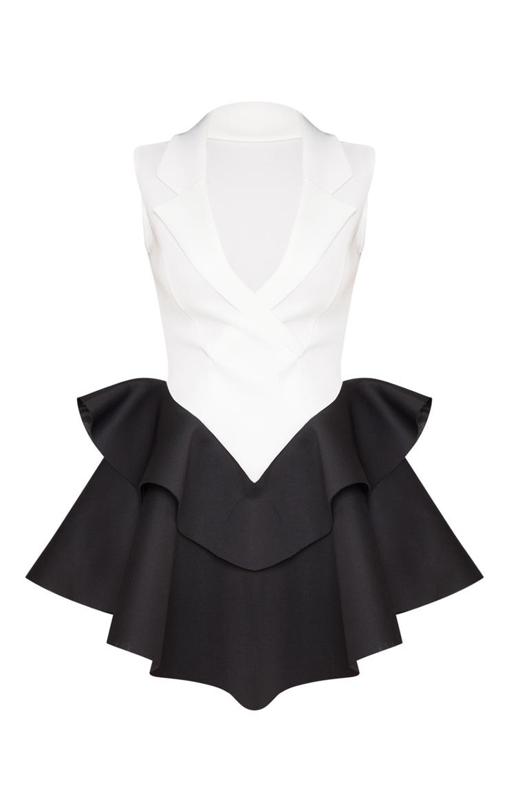 Monochrome Bonded Scuba Frill Hem Waistcoat Dress 3