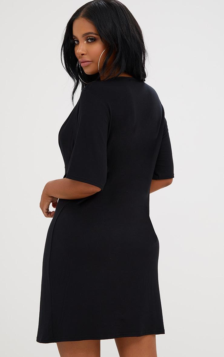 Shape Black Lace Up Front T-Shirt Dress 2