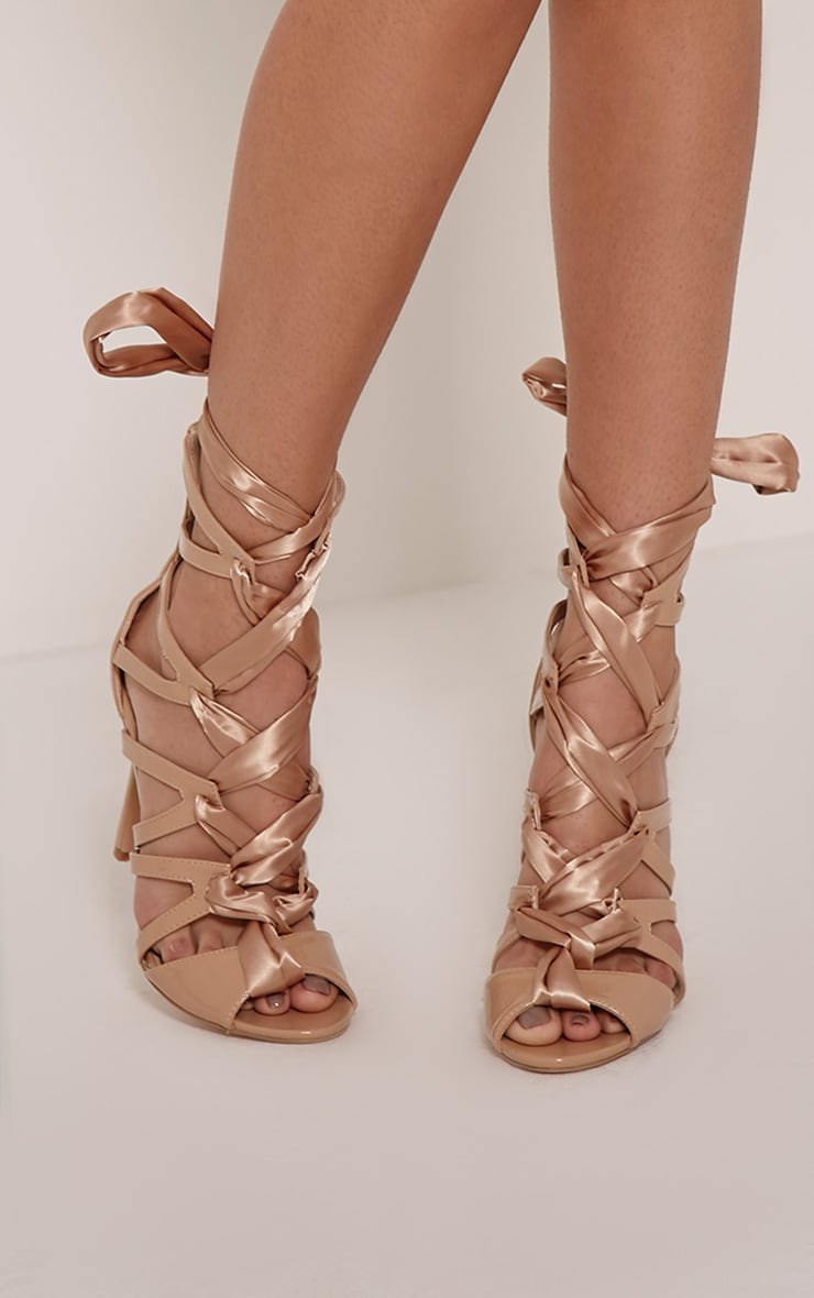 Carrey Nude Ribbon Lace Sandals 1
