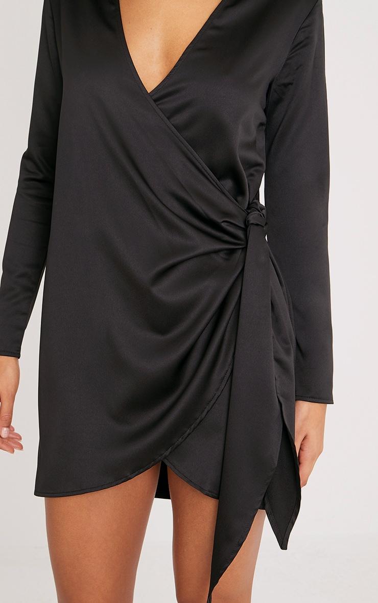 Shaylene robe chemise noire en satin à cordon à nouer à la taille 5