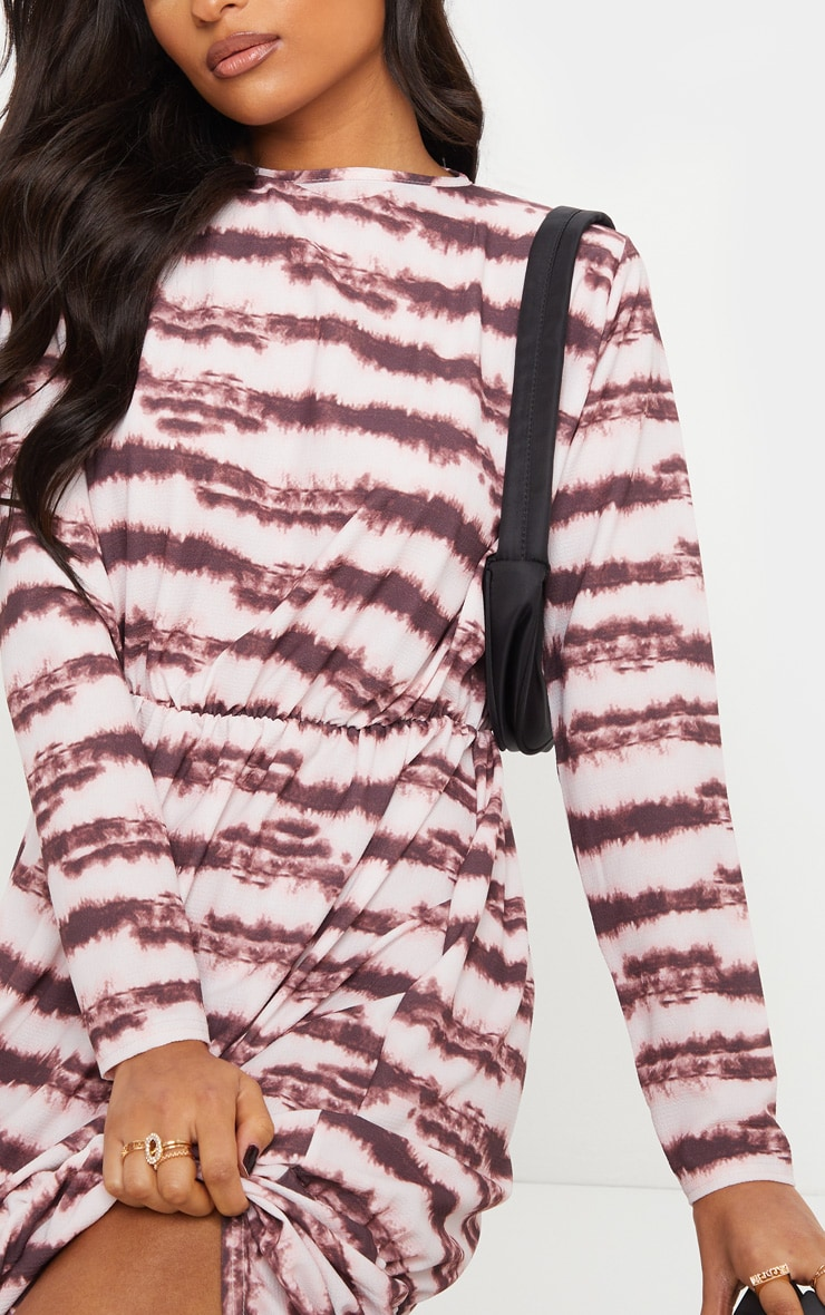Pink Marble Print Crepe Long Sleeve Tiered Midi Dress 5