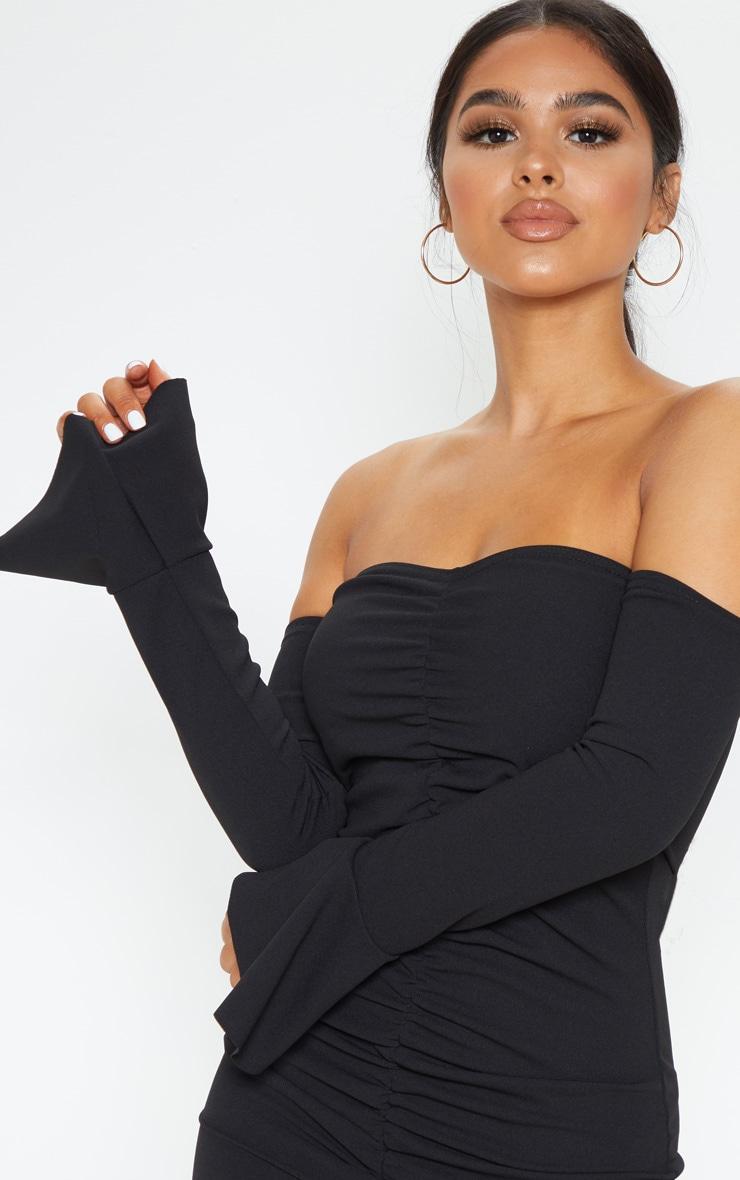 Petite Black Bardot Ruched Bodycon Dress 5