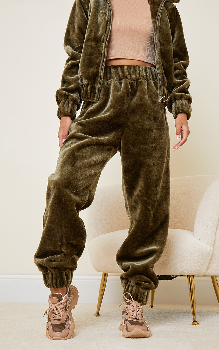 Khaki Faux Fur Joggers 2