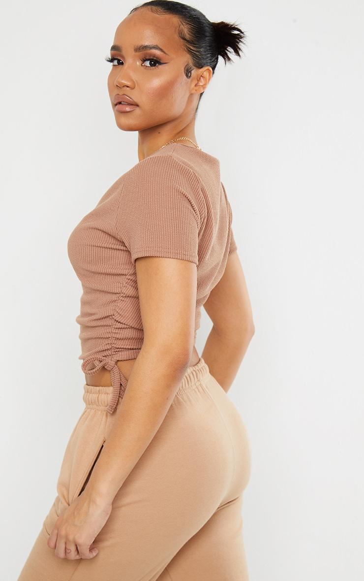 Camel Textured Rib V Neck Ruched Side T Shirt 2