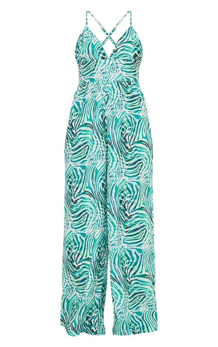 Green Zebra Print Cross Back Strappy Wide Leg Jumpsuit 5