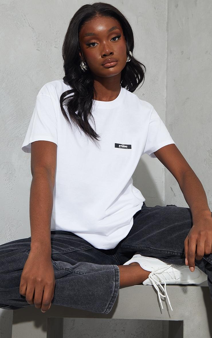 PRETTYLITTLETHING Tall White Oversized T- Shirt 1