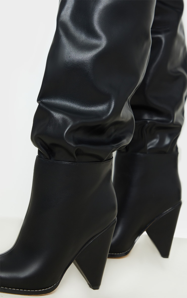 Black Cone Heel Thigh High Boot 2