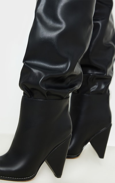 Black Cone Heel Thigh High Boot