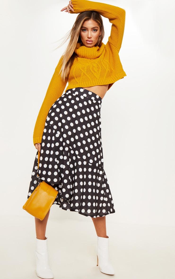 Black Polka Dot Frill Hem Tie Waist Midi Skirt 1