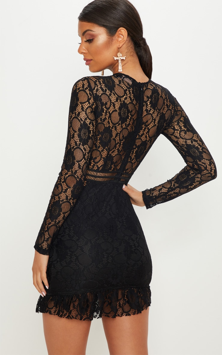 Black Lace Ladder Detail Frill Hem Bodycon Dress 2
