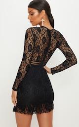 cda1768f0a1 Black Lace Ladder Detail Frill Hem Bodycon Dress