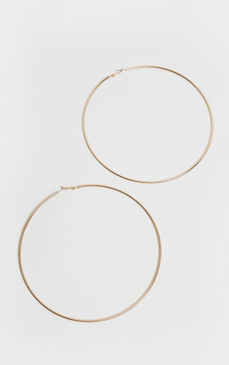 Gold 150mm Extra Large Hoop Earrings 3