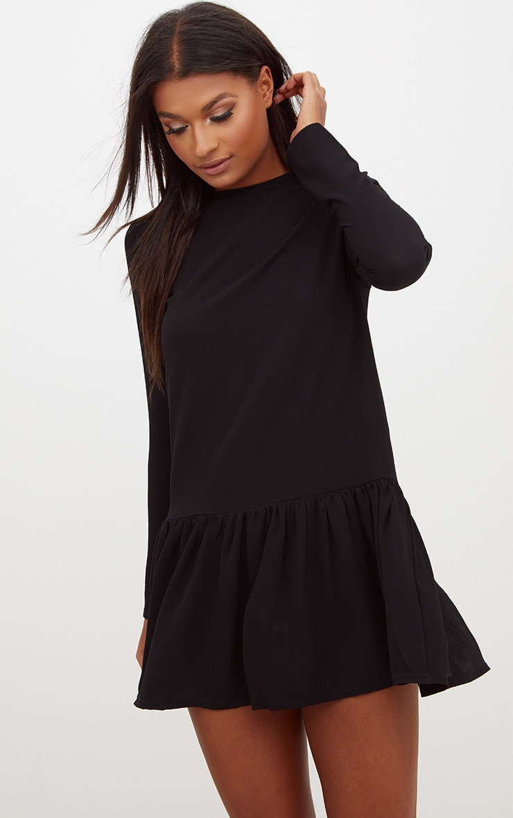 Black Long Sleeve Frill Hem Shift Dress 1