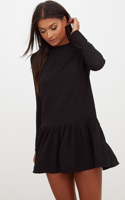 2e132bf635b Black Long Sleeve Frill Hem Shift Dress