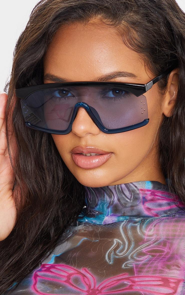 Blue Oversized Exposed Frame Sunglasses 2