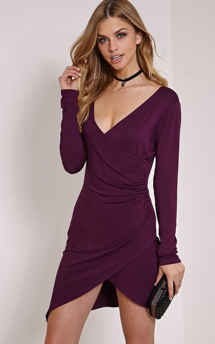 b4dcbc21b1 Kendi Plum Wrap Mini Dress image 1