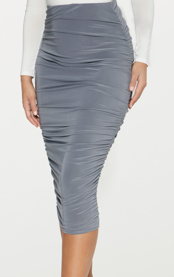 Grey Slinky Second Skin Ruched Midi Skirt 2