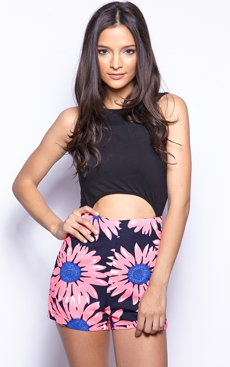 Hazel Pink Daisy Print Shorts 1