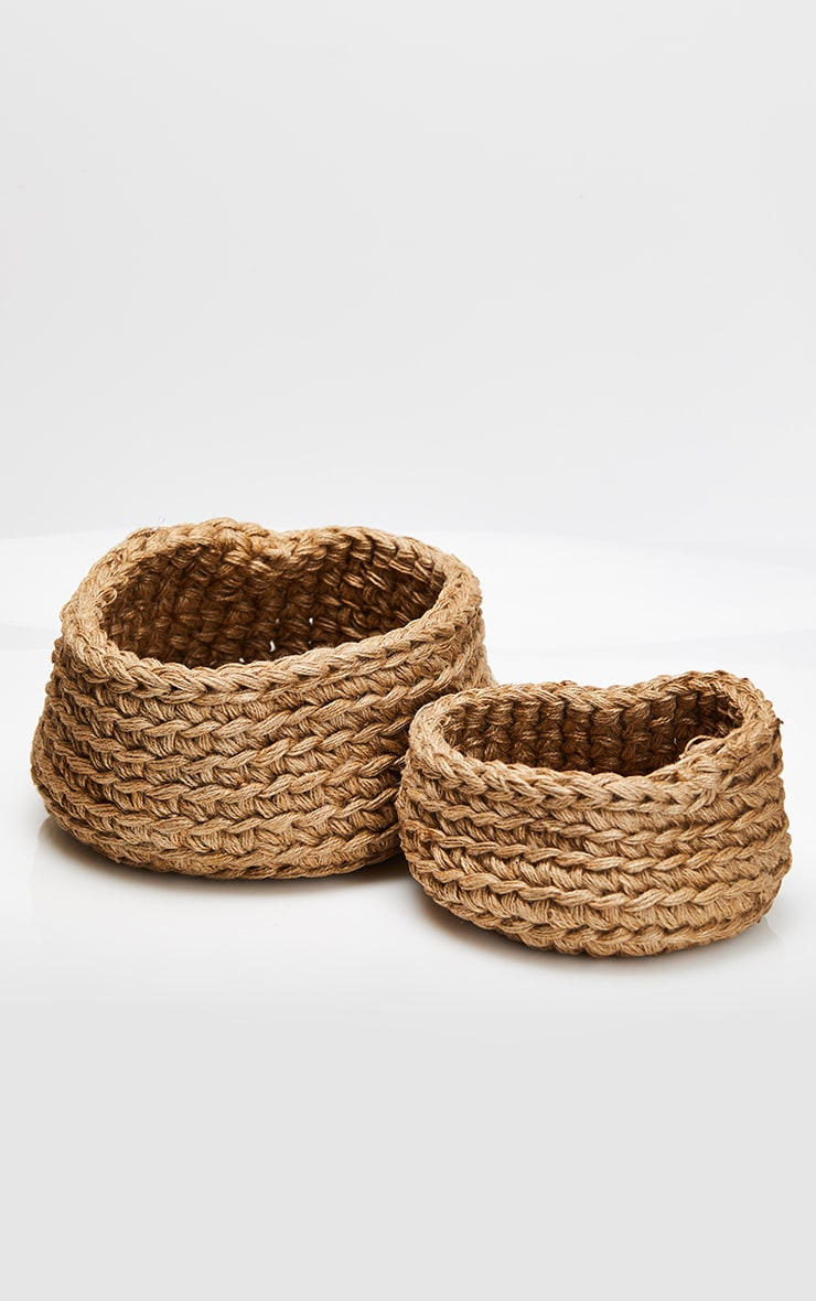 Natural Jute Large Storage Baskets Set 2 Pack 4