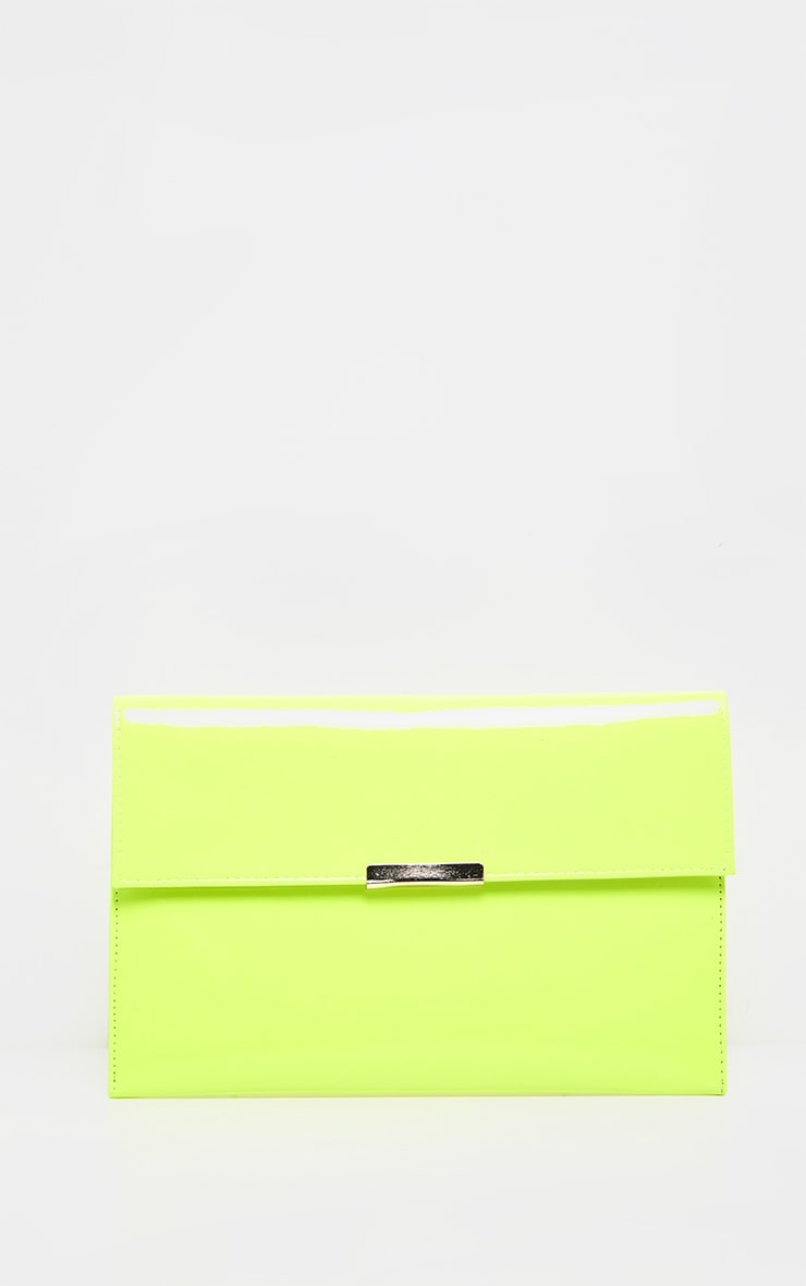 Neon Lime Basic Clutch Bag 2