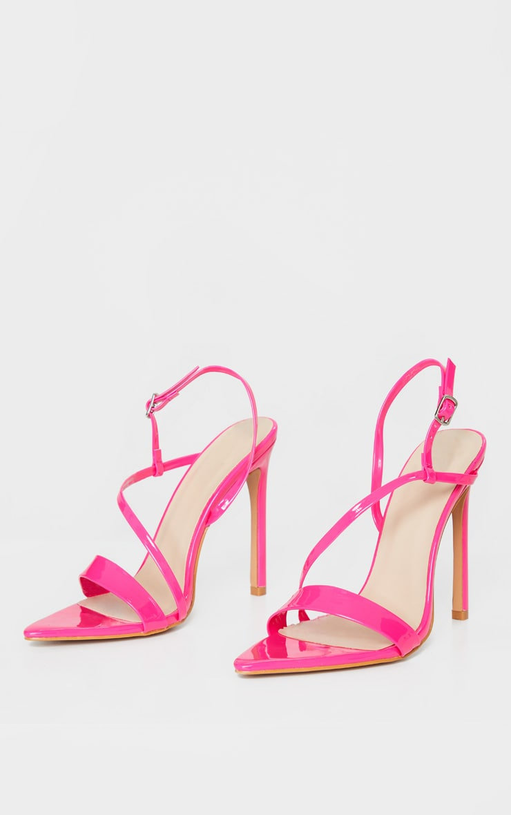 Bright Pink Asymmetric Strap Point Toe Heeled Sandal 3