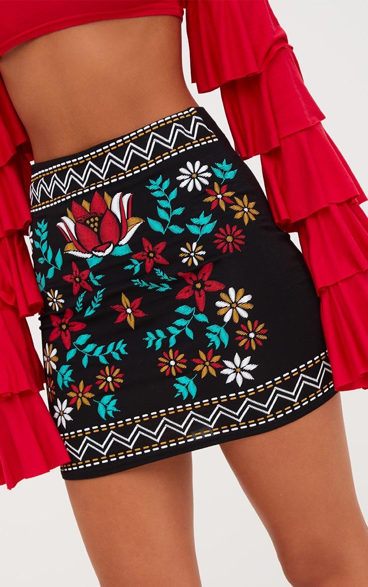Black Border Embroidery Print Mini Skirt 6