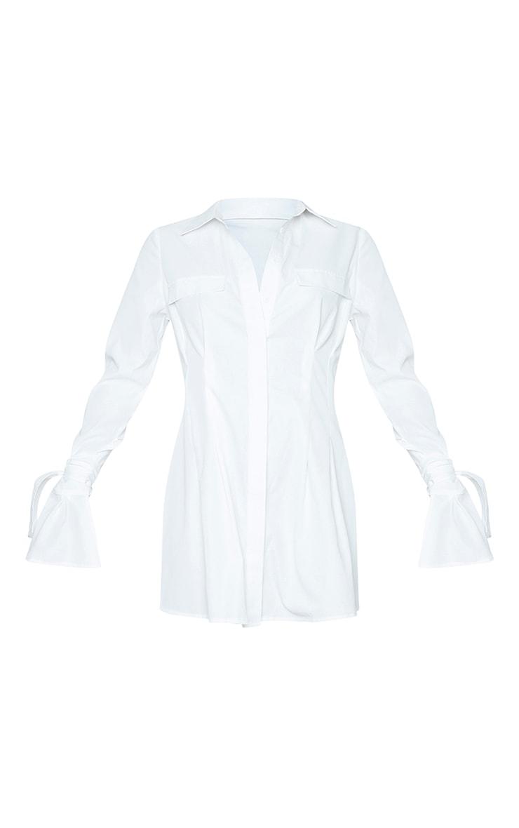 White Tie Cuff Detail Pleated Shirt Dress 5