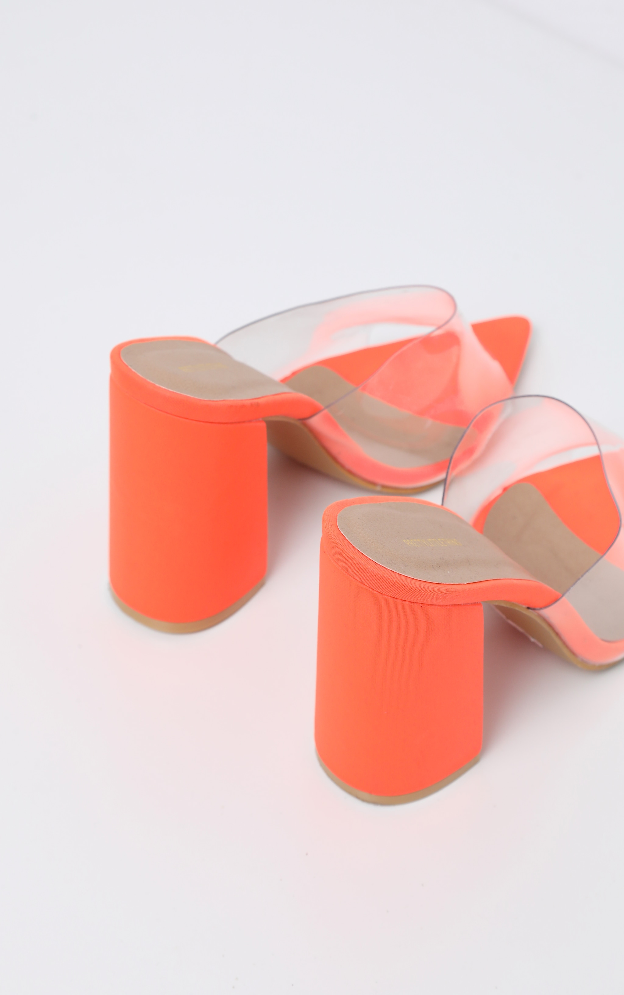Orange Block Heel Point Toe Mule 4