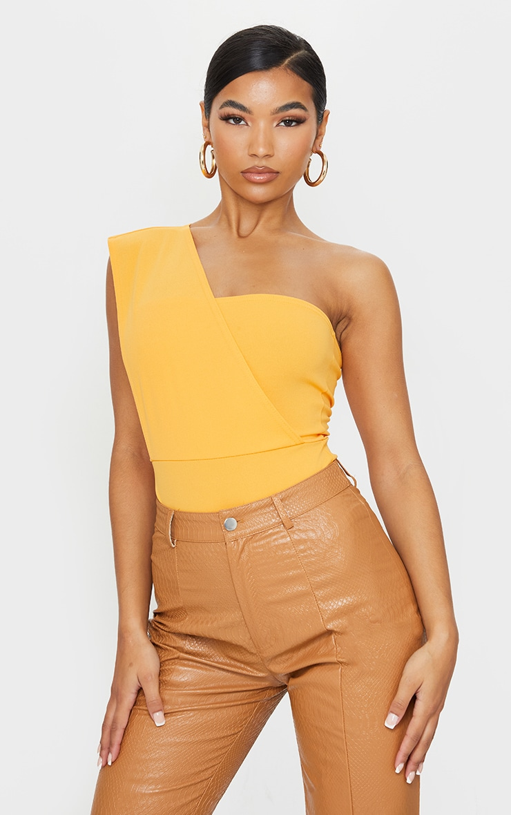 Tangerine One Shoulder Bodysuit 1