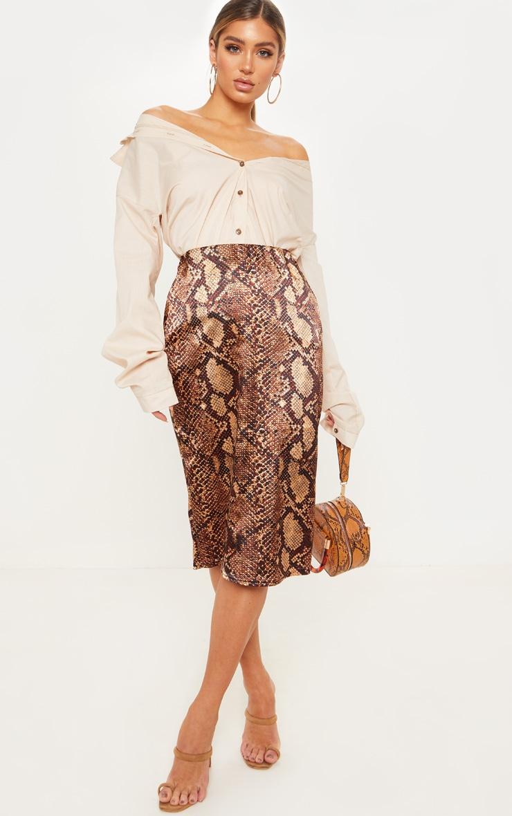 Snakeskin Printed Satin Midi Skirt