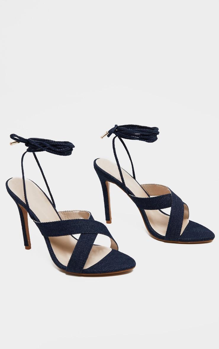 Sandales en jean foncé à brides croisées montantes 4